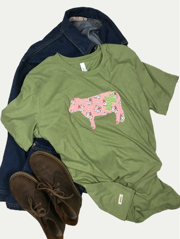 Rugged Cross Farm Edition, Vintage Green & Pink, Size Large