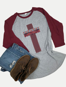 Raglan Tee Burgundy & Heather Light Gray, Size Large