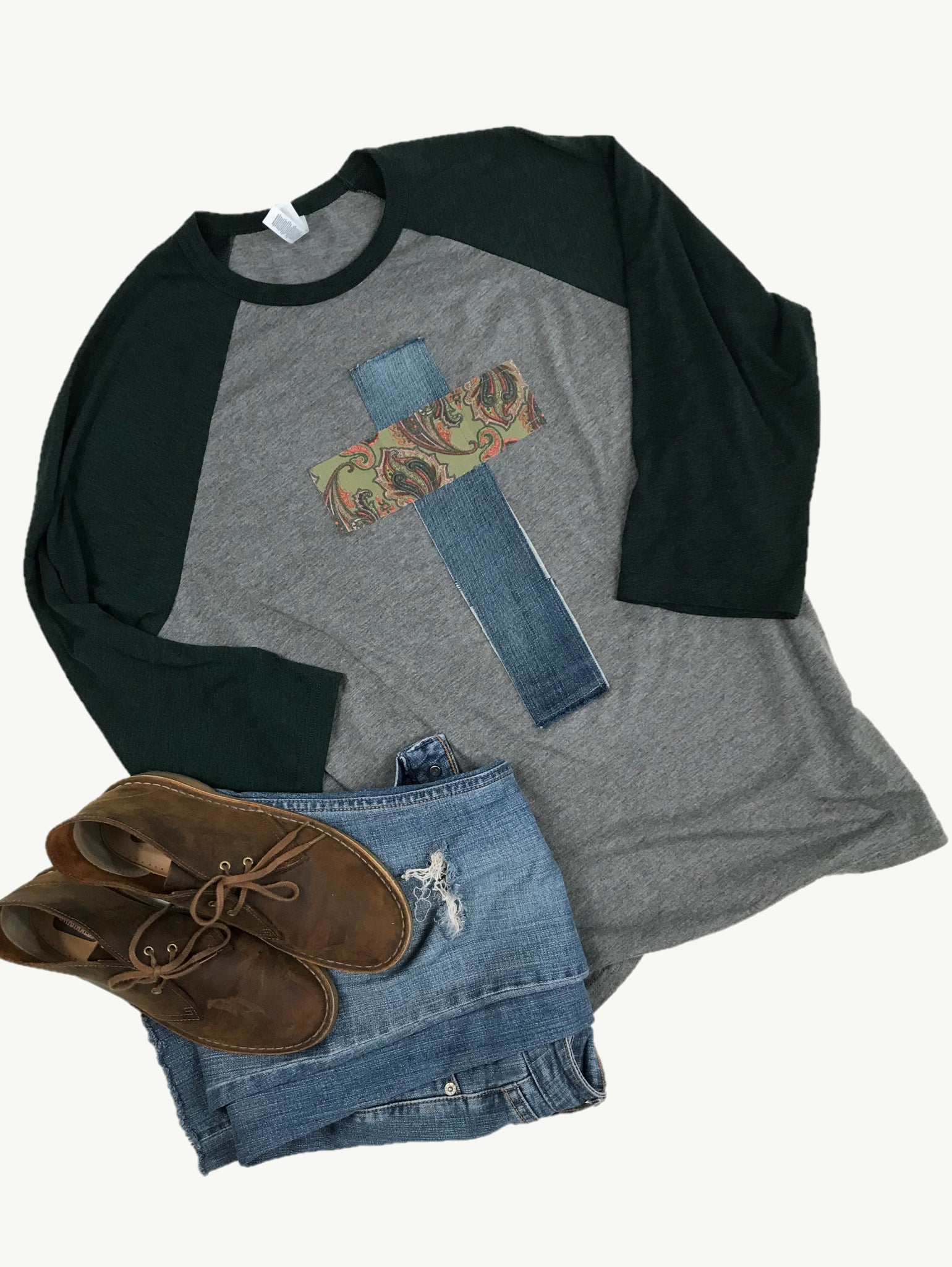 Raglan Tee Heathered Emerald and Gray, Paisley Corduroy and Denim, Size XL
