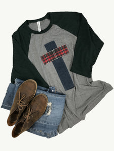 Raglan Tee Heathered Emerald and Gray, Flannel and Denim, Size Large