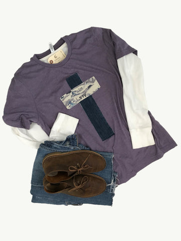 Rugged Cross Distressed Recycled Tee Vintage Purple, Denim and Flannel, Large