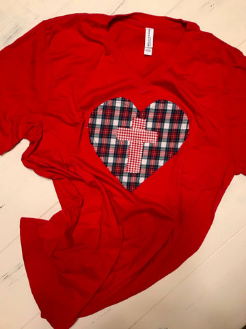 Rugged Cross Heart Edition, V-Neck, Red, Size Large, Plaid