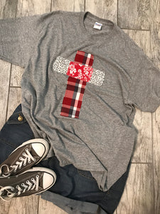 Rugged Cross Distressed Recycled Tee, Crew, Heathered Gray, XL