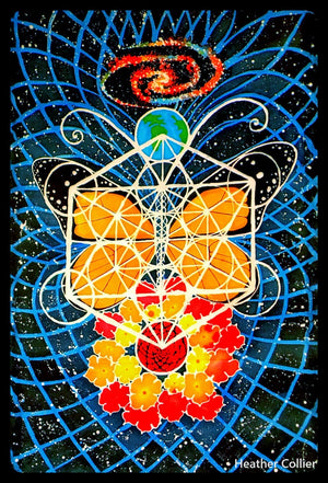 Butterfly Space Tapestry - Original Handmade Batik Artwork- Sacred Geometry - Metatron's Cube- Wall Hanging