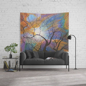 Tapestry Space Nebula Tree / Wall Hanging Orion's Nebula Rainbow Galaxy / Psychedelic Visionary Art / Outer Space Tapestry / Rainbow Decor