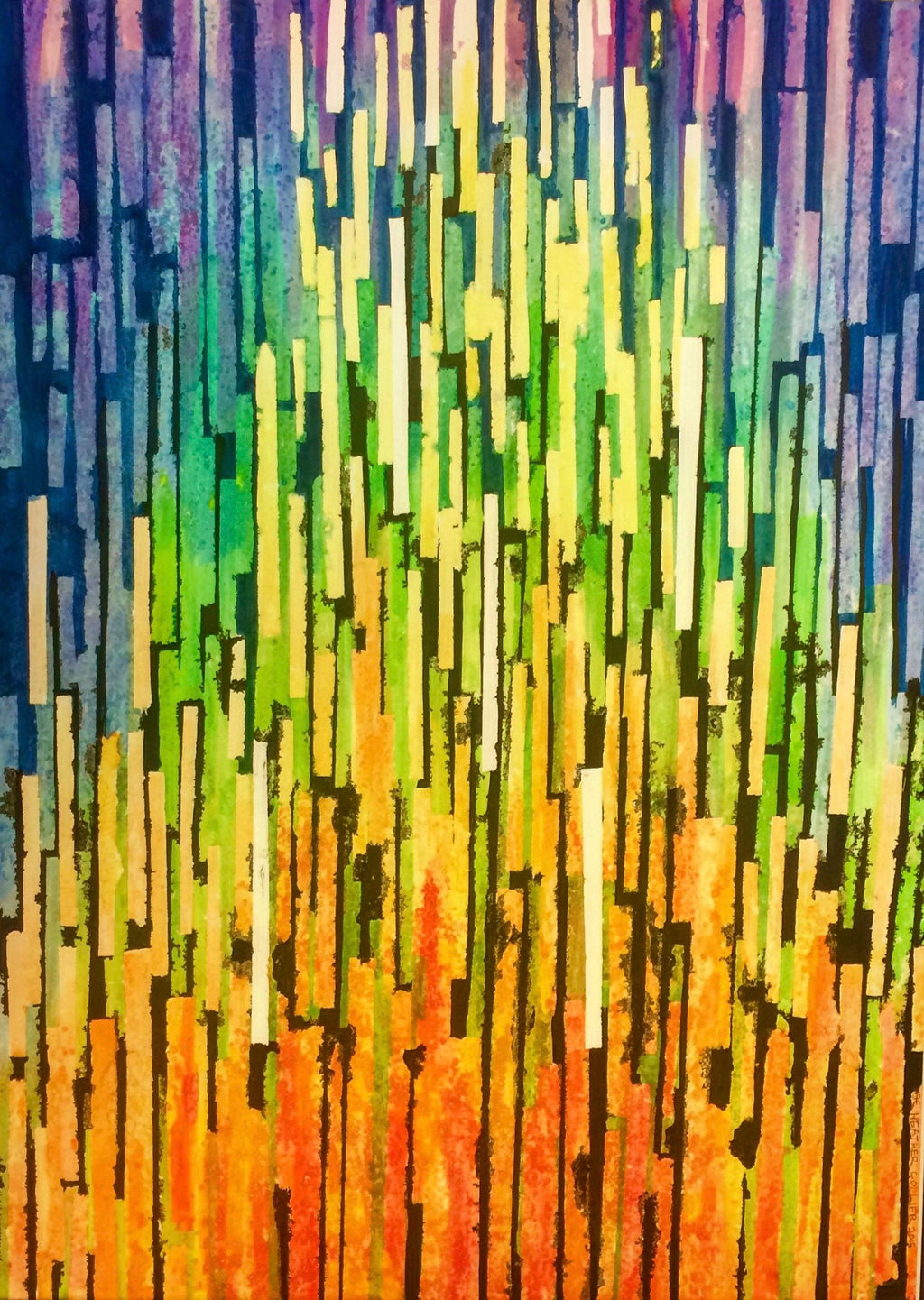 Abstract Watercolor Painting // Rainbow Stripe Art Print // Abstract Colorful Artwork // Rainbow Decor // Rainbow Stripes Painting