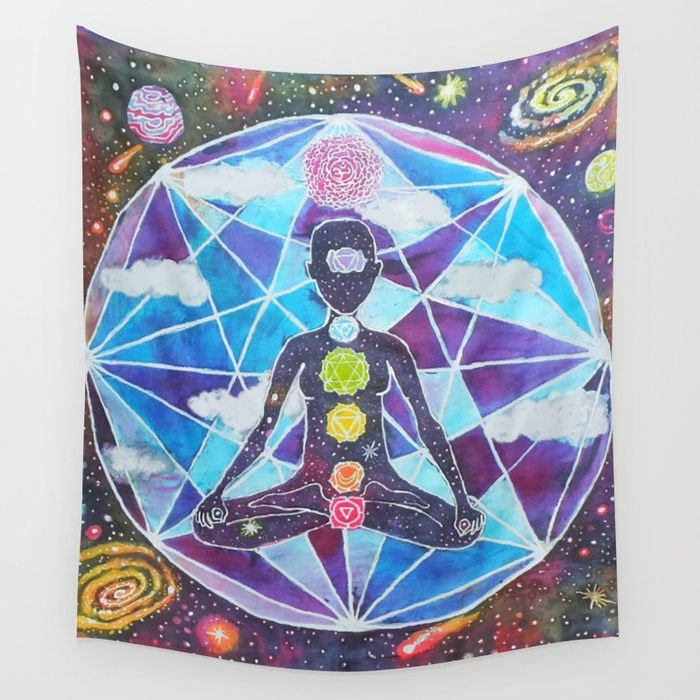 Tapestry Meditation Chakra Space / Yoga Painting / Batik Wall Hanging Decor / Rainbow Galaxy / Sacred Geometry / Psychedelic Visionary Art