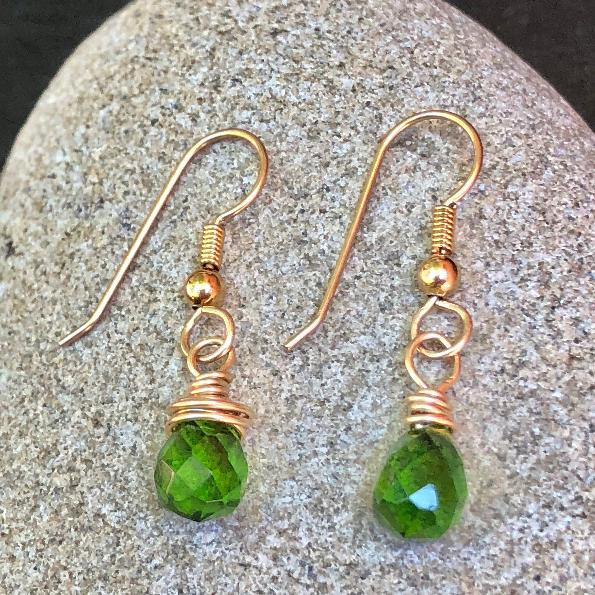 Peridot Gold Drop Earrings 14k Gold Filled Faceted Green Gemstone