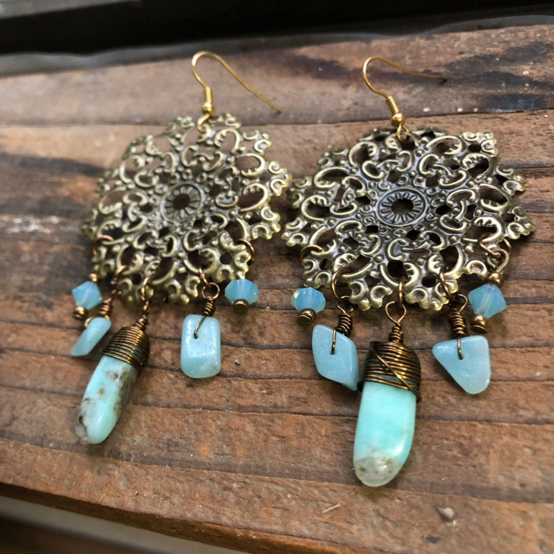 Amazonite Gypsy Mandala Earrings Antique Bronze Wire Wrapped Natural Blue Gemstone