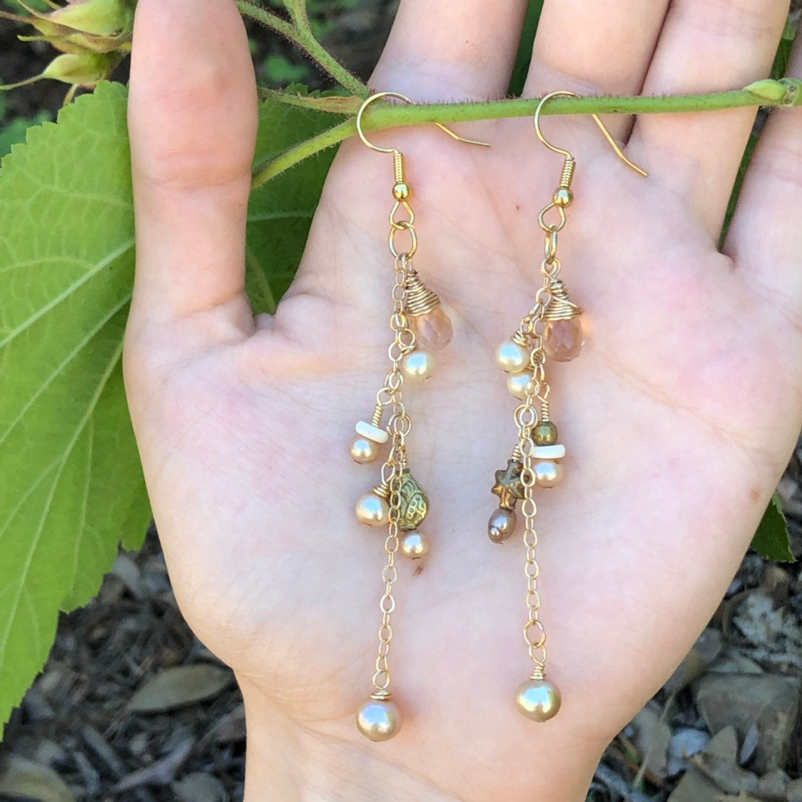 Pearl Dangle Earrings / 24k Gold Filled Chain / Freshwater Pearls / 14k Gold Filled Wire Wrapped / Dangle Earrings / Champagne Sapphire