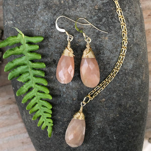 Peach Moonstone Gold Necklace Natural Pink Faceted Gemstone Teardrop Drop Wire Wrapped 24k Gold Filled Chain