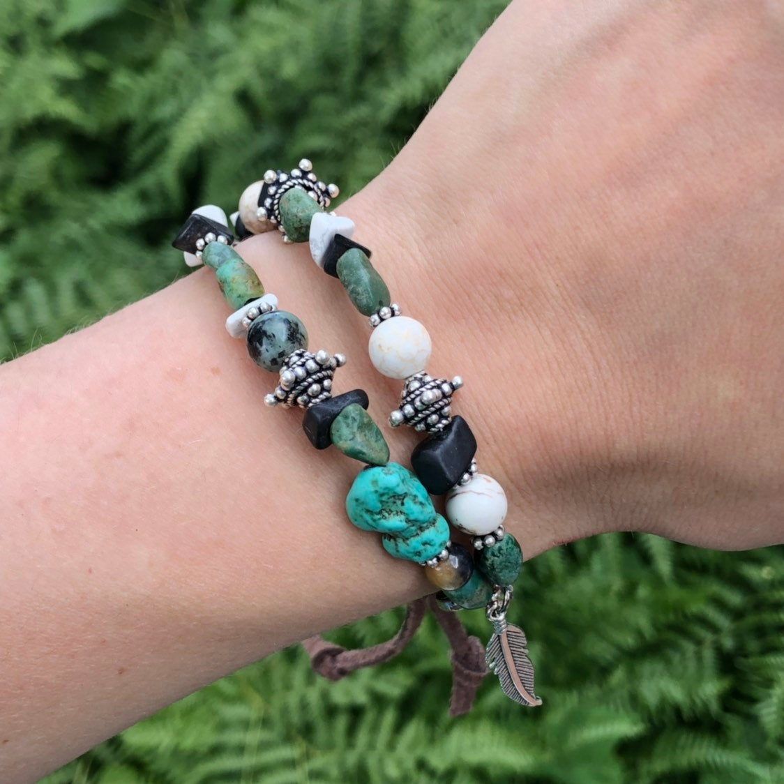 Turquoise Beaded Bracelet / Stacker Gemstone Bracelet / Raw Genuine Natural Turquoise / Leather Bracelet / Sterling Silver / Feather Charm