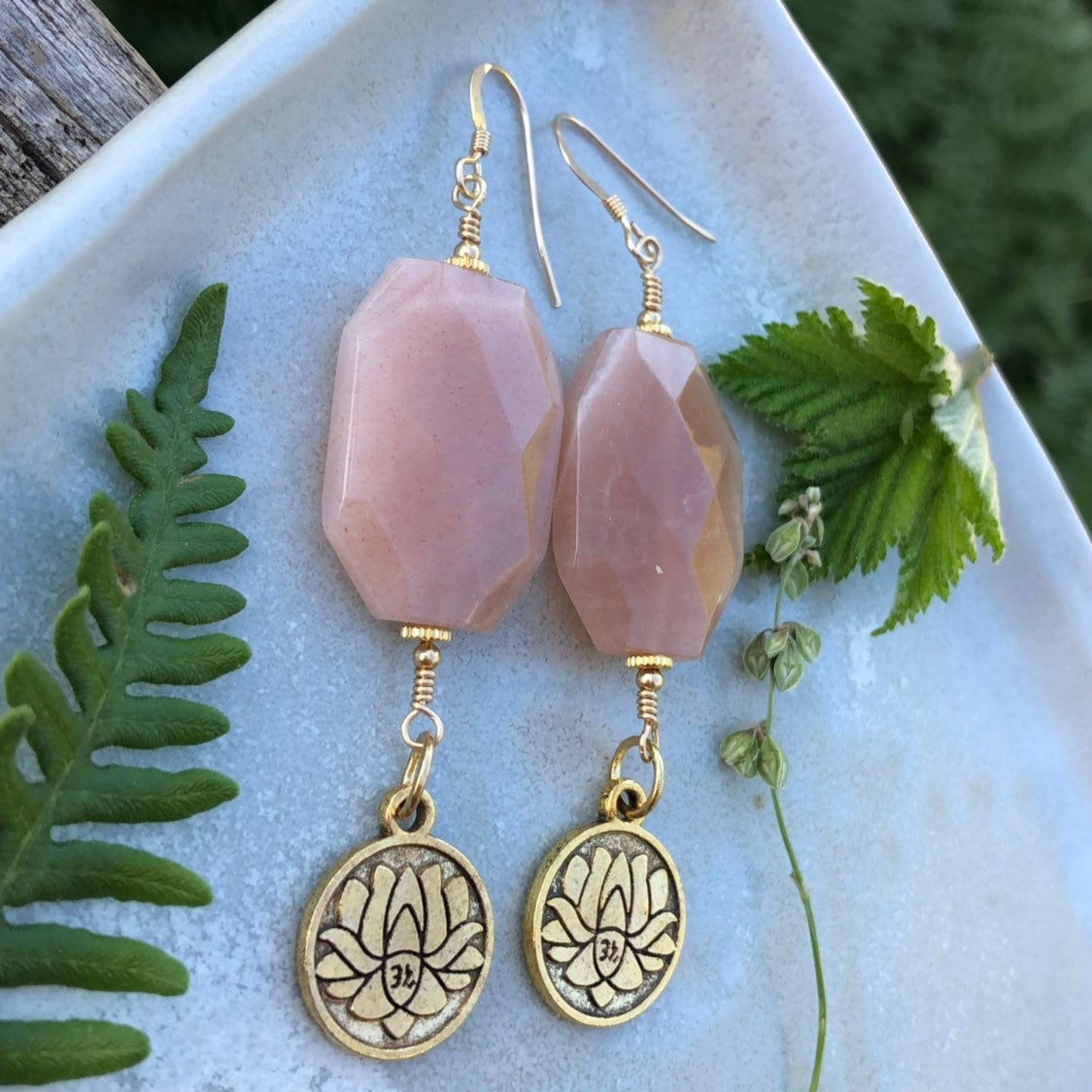 Made to Order Peach Moonstone Lotus Earrings / 14k Gold Filled Wire Hooks / Gold Lotus Om Charm / Faceted Peach Moonstone Earrings Boho Pink