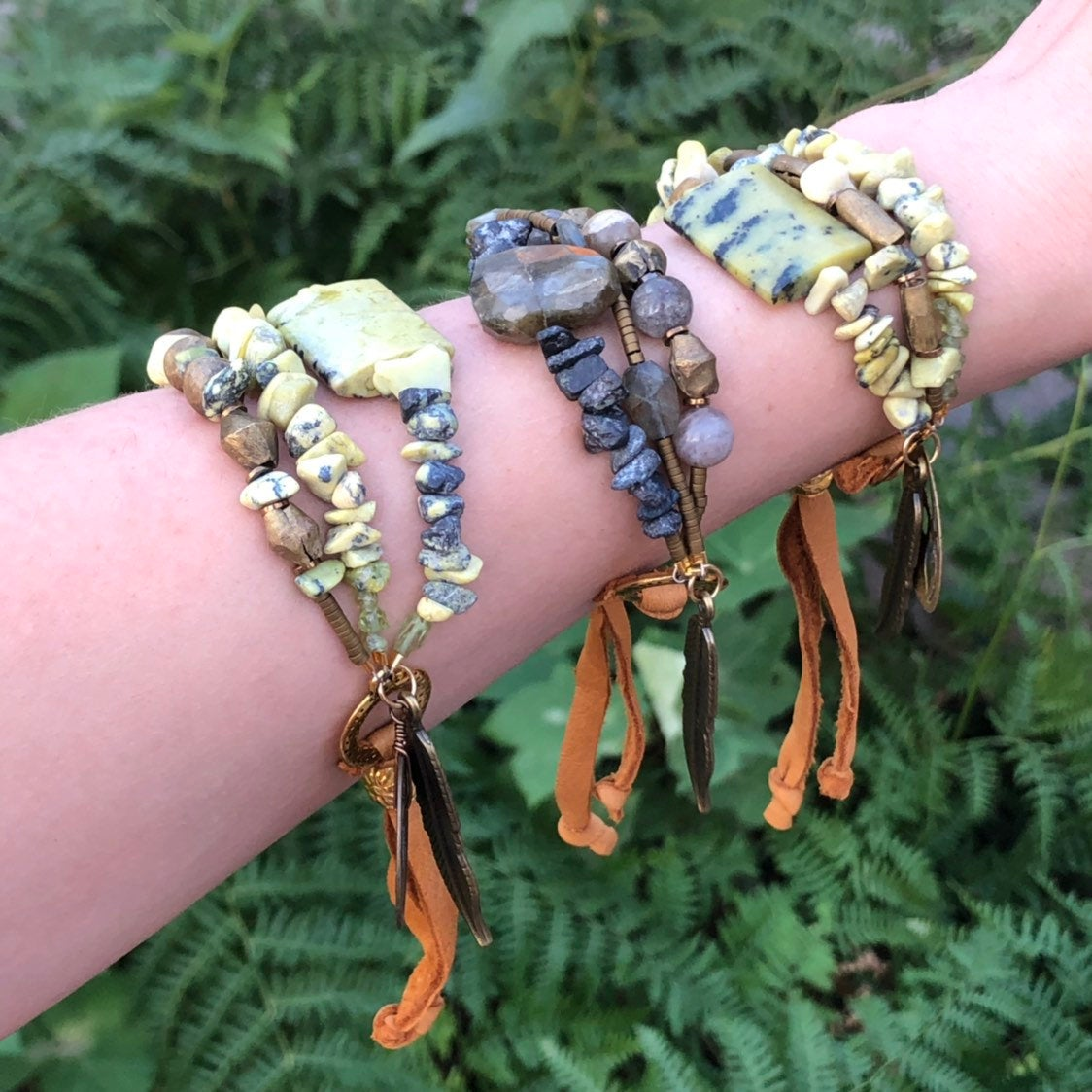 Serpentine Gold African Brass Bracelet Adjustable Deerskin Leather Bronze Feather Coin Charms
