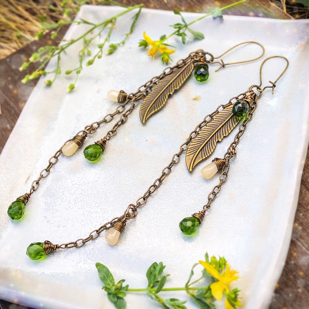 Peridot Citrine Feather Charm Earrings Antiqued Bronze Wire Chain Faceted Green Gemstone