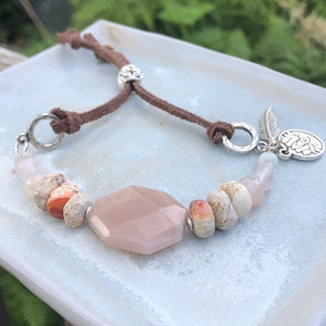 Peach Moonstone Bracelet / Lotus Leather Gold / Beaded Gemstone Bracelet / Faceted Nugget / Pink Stone Jewelry / Opal Bracelet / Boho Chic