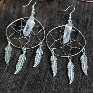 Dreamcatcher Crystal Feather Charm Earrings Sterling Silver Wire Wrapped Hypoallergenic