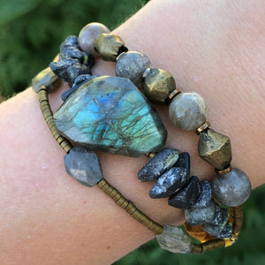 Labradorite African Brass Gold Bracelet Adjustable Deerskin Leather