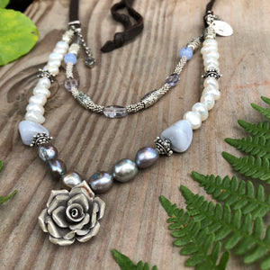 Black Pearl Silver Rose Necklace Adjustable Deerskin Leather Blue Lace Agate Freshwater Pearls Vintage Charms