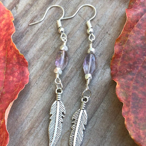 Amethyst Feather Earrings / Simple Sterling Silver / Feather Charm Earings / Faceted Amethyst / Boho Chic Jewelry / Purple Gemstone / Simple