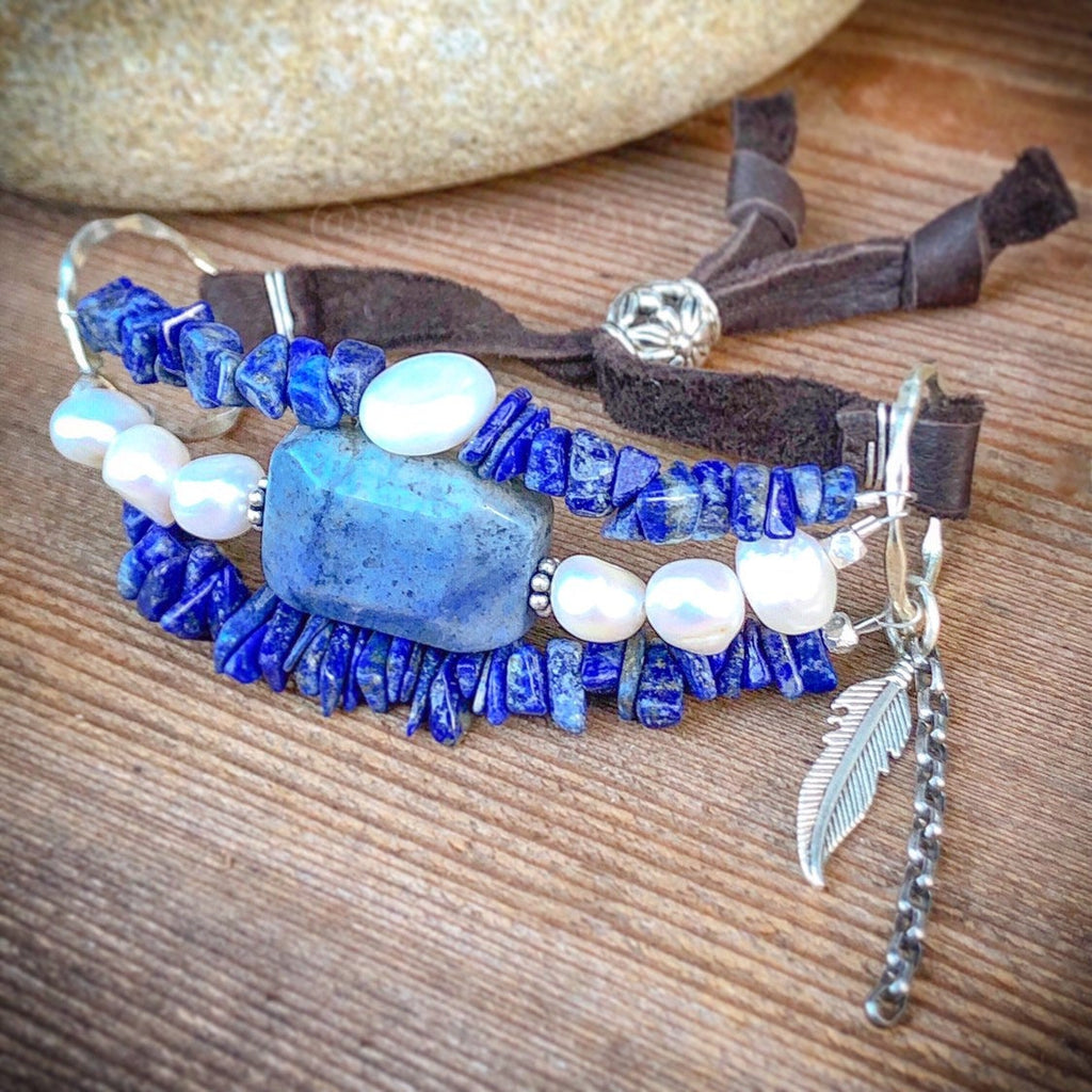 Lapis Lazuli Pearl Bracelet / Multi Strand / Adjustable / Brown Deerskin Leather / Sterling Silver / Feather Charm / Vintage Chain Blue