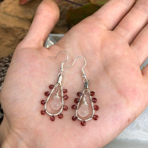 Garnet Hoop Earrings / Rose Quartz Drops / Wire Wrapped Hoop Earrings / Rose Quartz Garnet / Rose Quartz Teardrops / Garnet Earrings