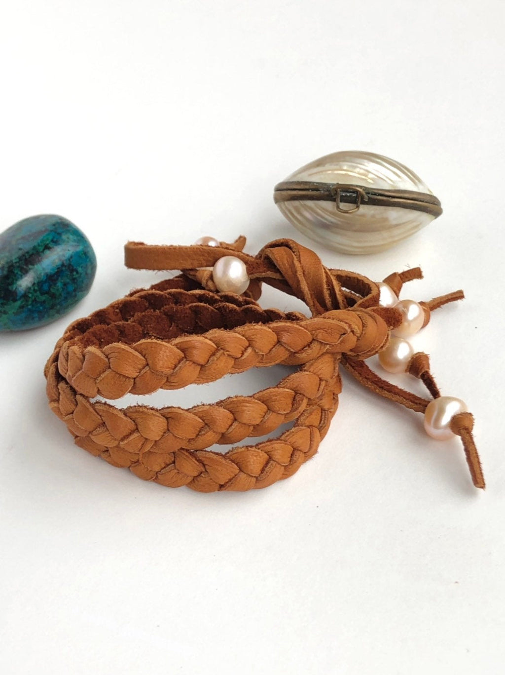 Leather Wrap Bracelet / Braided Deerskin Leather / Saddle Brown Leather / Western Jewelry / Pink Pearls / Fringe Charm Bracelet / Versatile