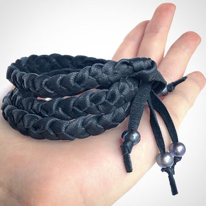 Leather Wrap Bracelet / Black Deerskin Leather / Braided Leather / Bracelet Black Leather / Black Pearls / Leather Fringe / Charm Bracelet