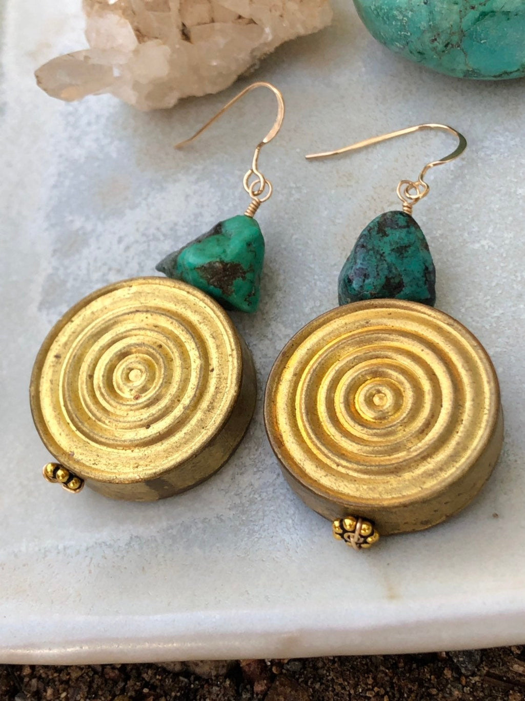 Turquoise Spiral Earrings / Tribal Style Earrings / Natural Genuine Turquoise Untreated / African Brass Spiral / 14k Gold Filled