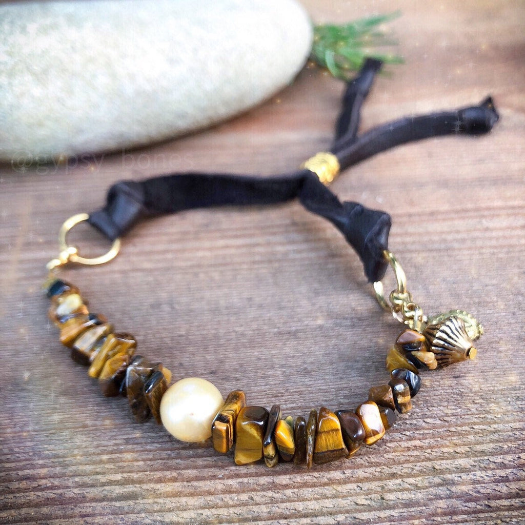 Tiger's Eye Bracelet / Adjustable Deerskin Leather / Natural Brown Gemstone Stack / Earthy Bracelet / Freshwater Pearl 24k Gold Plated