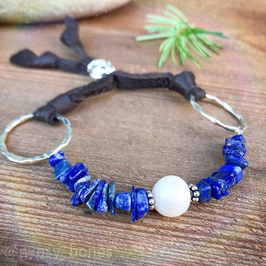 Lapis Lazuli Pearl Bracelet / Adjustable Deerskin Leather / Sterling Silver / Natural Blue Gemstone / Pearl Leather Bracelet / Gemstone Chip