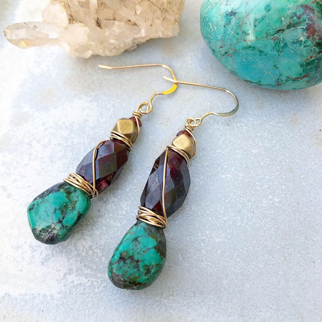 Turquoise Garnet Earrings / Wire Wrapped / 14k Gold Filled / African Brass / Natural Genuine Turquoise / Faceted Eed Garnet / Boho Chic