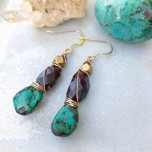 Turquoise Garnet Earrings / Wire Wrapped / 14k Gold Filled / African Brass / Natural Genuine Turquoise / December Birthstone January
