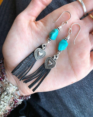 Turquoise Fringe Earrings / Black Deerskin Leather / Genuine Turquoise / Western Style / Boho Chic Jewelry / Turquoise Earrings /