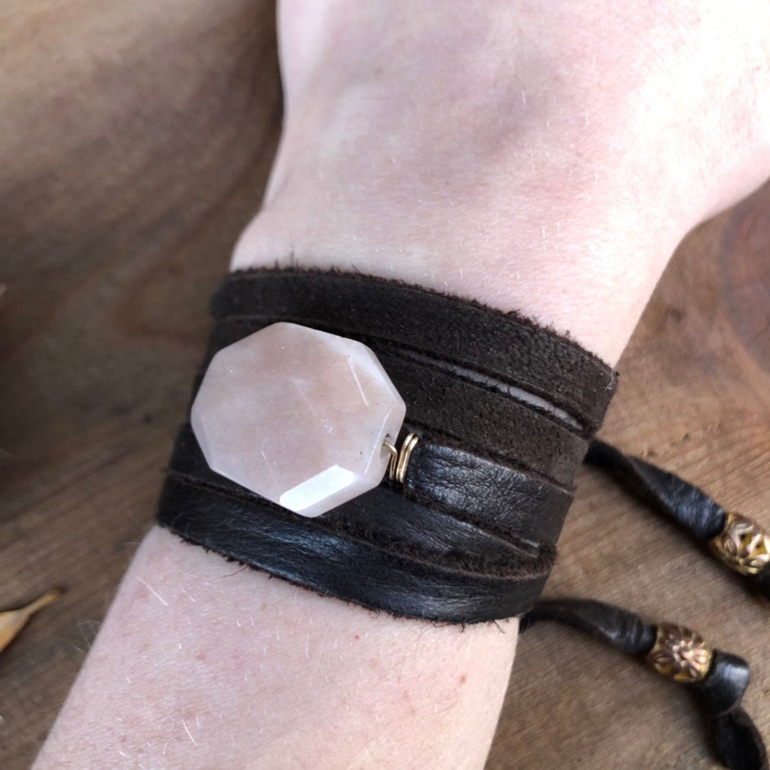 Pink Tourmaline Bracelet / Leather Wrap Bracelet / Convertible Necklace / Adjustable Black Deerskin Leather Bracelet / Wrap Necklace