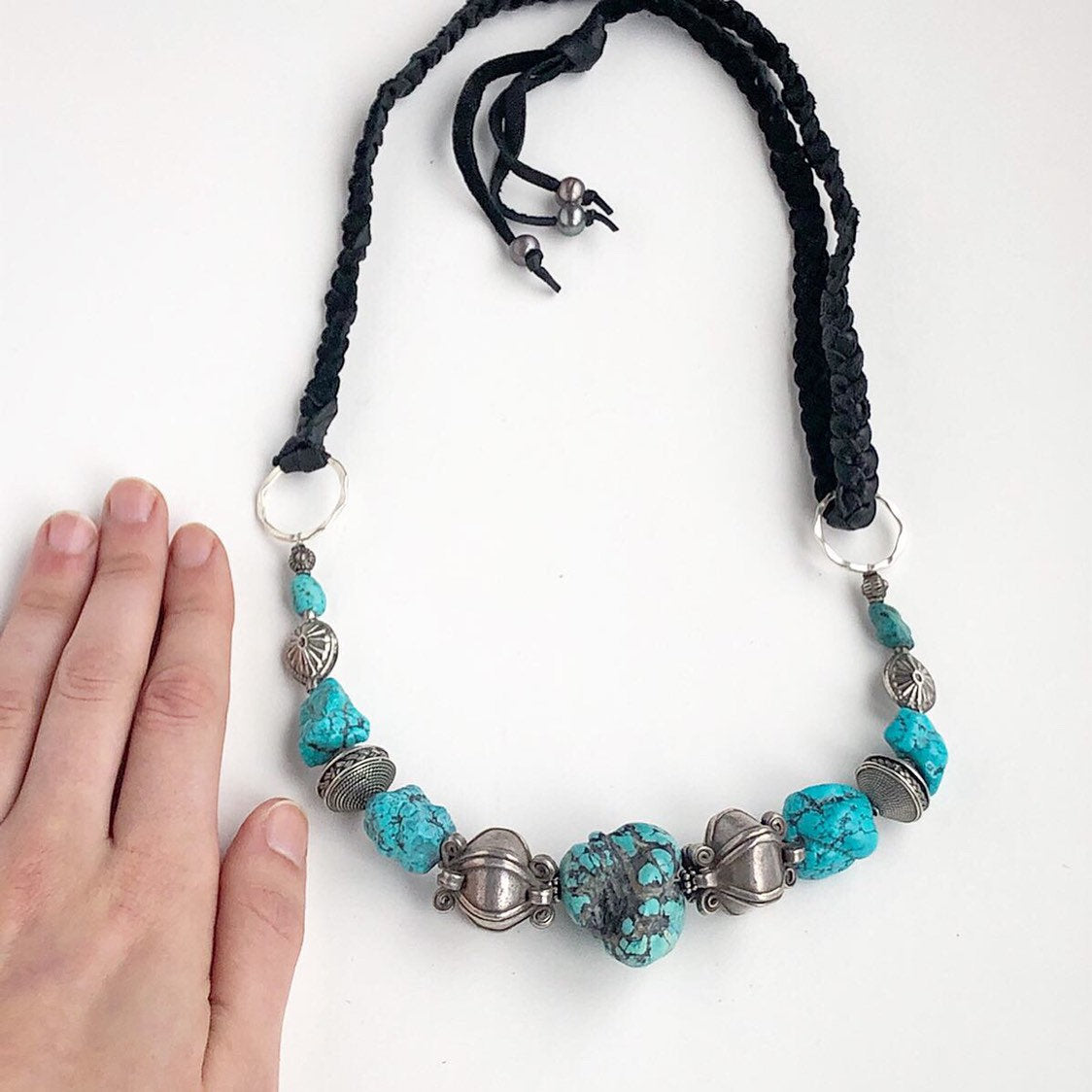 Chunky Turquoise Necklace / Sterling Silver / Black Deerskin Leather / Fringe Black Pearls / Genuine Turquoise Beaded Necklace Boho Vintage