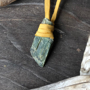 Serpentine Leather Wrapped Necklace / Raw Stone Slab / Tan Deerskin Leather / Green Stone Pendant / Raw Local Serpentine Necklace
