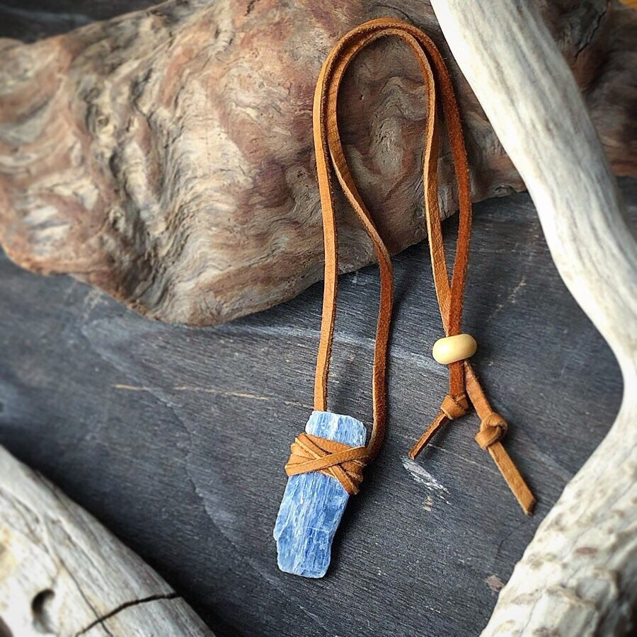 Kyanite Leather Wrap Necklace / Blue Kyanite Slab / Kyanite Pendant Necklace / Deerskin Leather Wrapped / Raw Stone Natural Blue Adjustable