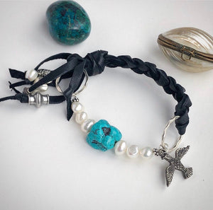 Turquoise Pearl Bracelet / Leather Fringe / Braided Leather / Black Deerskin Leather / Sterling Silver Charms / Genuine Turquoise Nugget