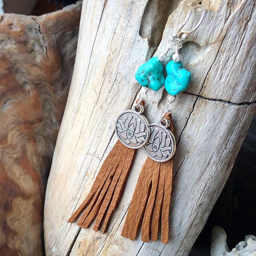 Turquoise Lotus Fringe Earrings / Genuine Turquoise Stones / Raw Turquoise Nugget Earrings / Deerskin Leather Fringe / Lotus Charm / Silver