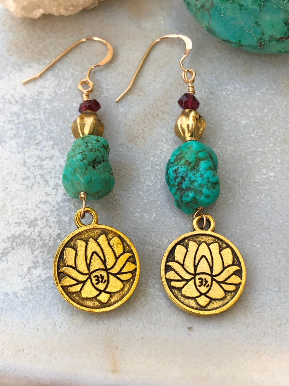 Turquoise Garnet Earrings / 14k Gold Filled / Wire Wrapped / Vintage African Brass / Natural Genuine Turquoise Nuggets Untreated / Lotus