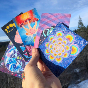 Art Sticker Pack / 5 Stickers / Original Art Prints / Heather Stone Artwork / Psychedelic Art Rainbow / Mushroom Painting / Art Stickers