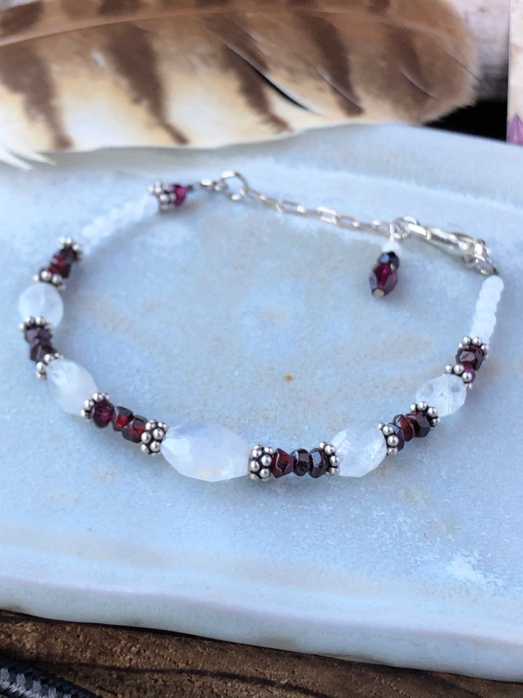 Garnet Moonstone Bracelet / Beaded Bracelet / Natural Gemstone Bracelet / Faceted Moonstone / Sterling Silver Adjustable Charm