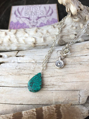 Spiderweb Turquoise Necklace / Teardrop Pendant / Natural Genuine Turquoise / Sterling Silver Chain / Dainty Necklace / Gemstone Choker