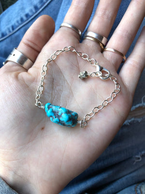 Turquoise Bracelet / Chain Sterling Silver / Adjustable Bracelet Genuine Turquoise/ Campitos Mine Raw Turquoise Nugget / Southwestern Charm