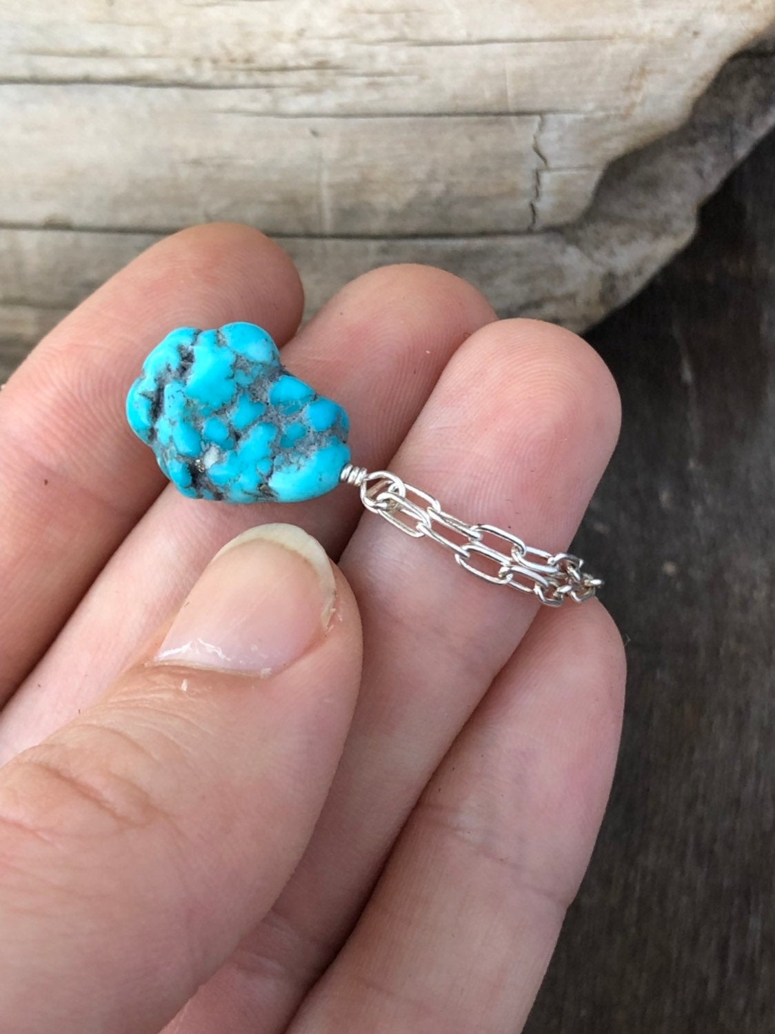 Genuine Turquoise Chain Necklace / Raw Turquoise Nugget / Campitos Mine / Untreated Turquoise Stone Dainty Necklace / Sterling Silver Chain