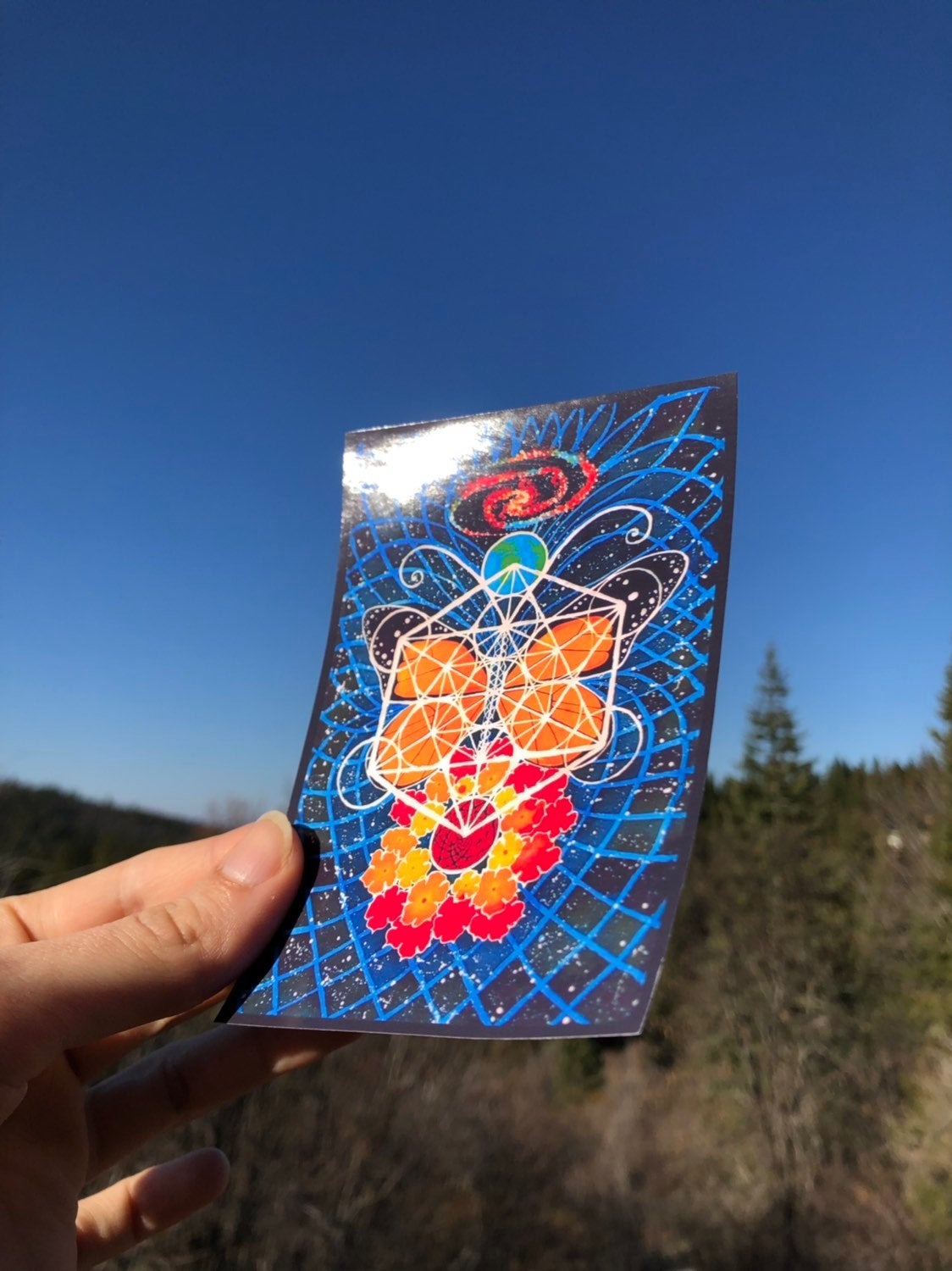 Sticker Butterfly Space Art / Original Art By Heather Stone / Sacred Feminine Art / Monarch Butterfly / Art Sticker / Sacred Geometry Galaxy