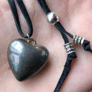 Vintage Heart Necklace / Sterling Silver Heart Pendant / Black Deerskin Leather / Adjustable Necklace / Sterling Silver Black Leather Heart