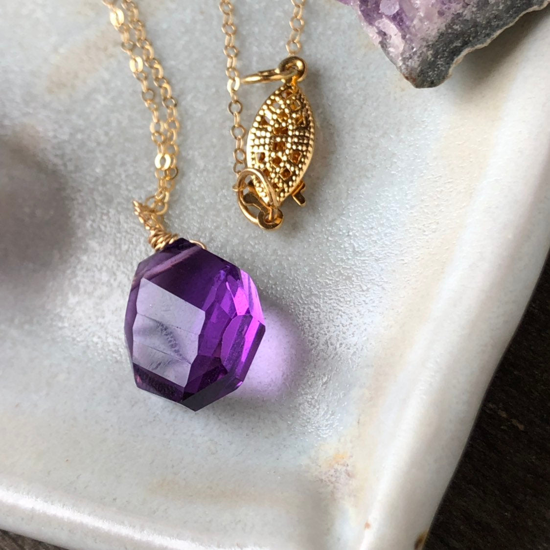Amethyst Gold Necklace / Faceted Amethyst / Brazilian Amethyst Pendant Necklace / Natural Purple Crystal / 14k Gold Filled Chain