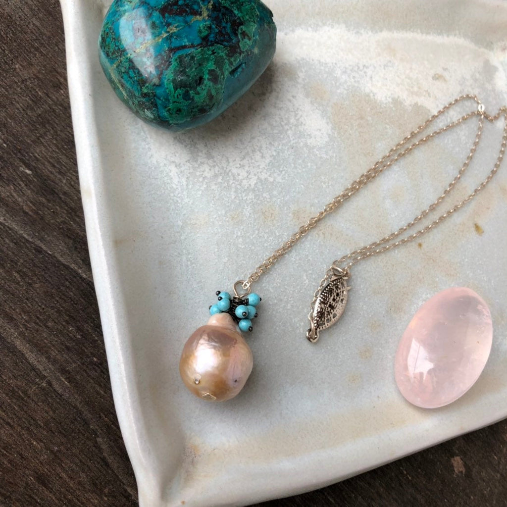 Made to Order Pearl Turquoise Necklace / Freshwater Pearl / Sterling Silver Chain / Vintage Clasp Vintage Old Stock Turquoise